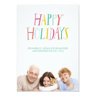 Hand Lettered Happy Holidays Photo Card 13 Cm X 18 Cm Invitation Card