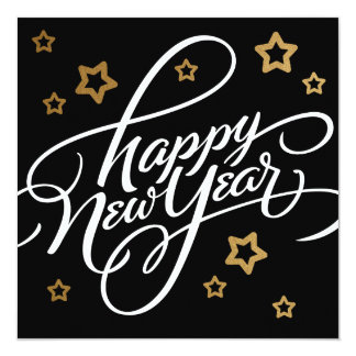 HAND-LETTERED HAPPY NEW YEAR   HOLIDAY CARD 13 CM X 13 CM SQUARE INVITATION CARD