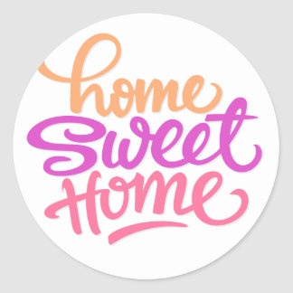 HAND LETTERED HOME SWEET HOME | HOUSEWARMING PARTY ROUND STICKER