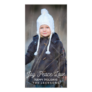 Hand Lettered Joy Peace Love Holiday Photo Card