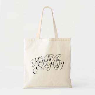 Hand Lettered Married and Merry Newlywed Holiday Budget Tote Bag