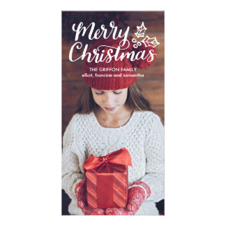 Hand Lettered Merry Christmas Full Photocard Photo Card Template