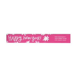 Hand Lettered New Year Wraparound Label - Pink