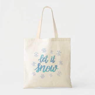 "Hand Lettered Ombre Snowflake ""Let It Snow"" Tote"