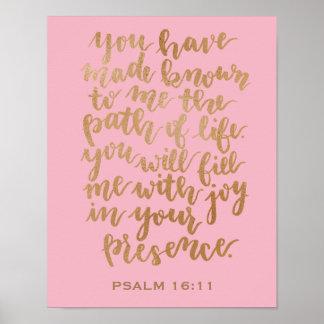 Hand Lettered Psalm 16:11 Copper Foil Poster