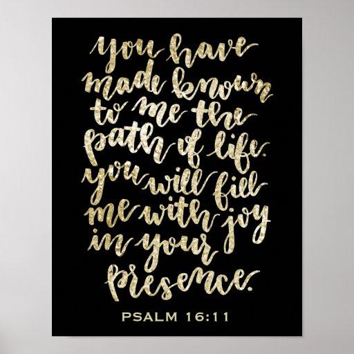 Hand Lettered Psalm 16:11 Gold Glitter Poster