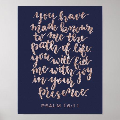 Hand Lettered Psalm 16:11 Rose Glitter Poster