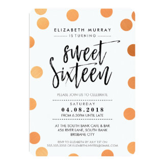 HAND LETTERED SCRIPT sweet 16 copper foil confetti Card