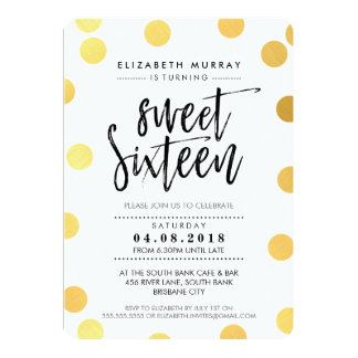 HAND LETTERED SCRIPT sweet 16 gold foil confetti Card