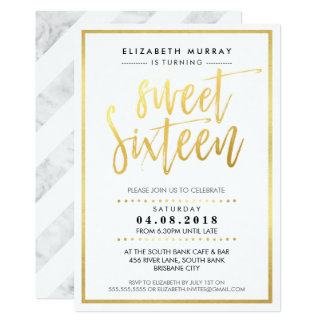 HAND LETTERED SCRIPT sweet 16 trendy hot gold foil Card