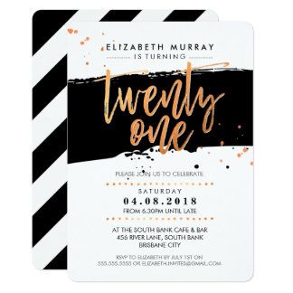 HAND LETTERED SCRIPT type trendy copper foil black 13 Cm X 18 Cm Invitation Card