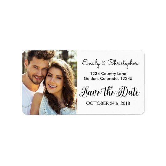 Hand Lettered Script Wedding Save the Date Photo Address Label