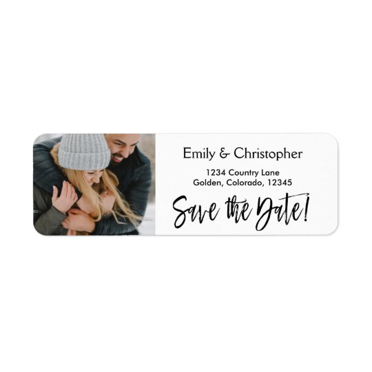 Hand Lettered Script Wedding Save the Date Photo Return Address Label