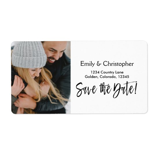 Hand Lettered Script Wedding Save the Date Photo Shipping Label
