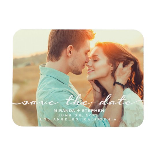 Hand Lettered Style Save the Date Wedding Photo