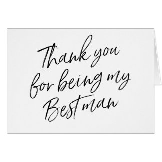 "Hand Lettered ""Thank you for being my best man"" Card"