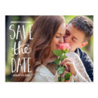 Hand Lettered Typography Photo Save the Date Postcard