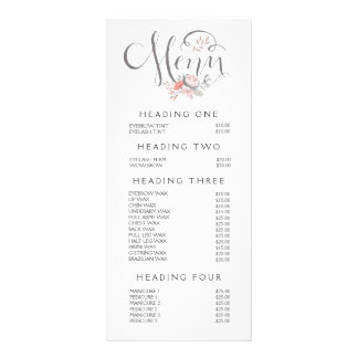 Hand Lettering Salon Stylist Menu Price List Personalized Rack Card