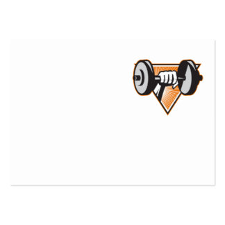 Hand Lifting Dumbbell Retro Business Cards