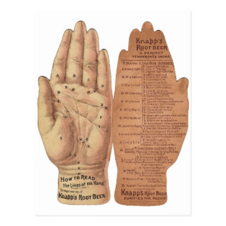Hand Lines Palm reading Palmistry vintage graphic Postcard