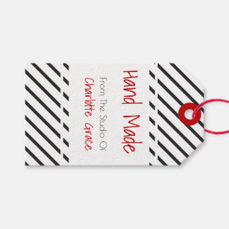 Hand Made Black White Striped With Red Banner Gift Tags