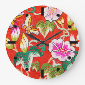 Hand made embroidery wall clock