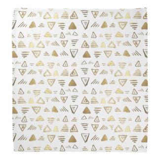 Hand made faux gold paint aztec pattern kerchiefs