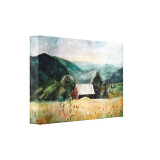 Hand-made watercolour fantasy landscape gallery wrapped canvas