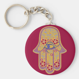 Hand of Fatima hamsa Basic Round Button Key Ring