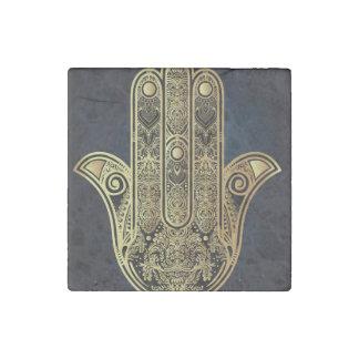Hand of Fatima,symbol of protection,Hamsa,gold on Stone Magnet