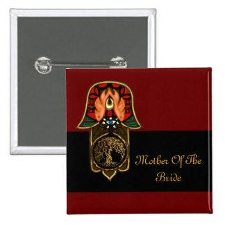 Hand of Hamsa feat: Tree of Life 15 Cm Square Badge