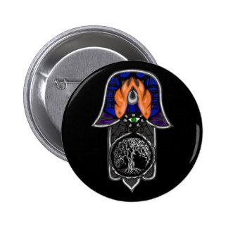 Hand of Hamsa feat: Tree of Life 2 6 Cm Round Badge
