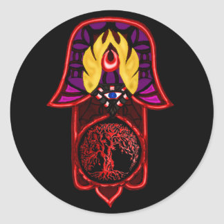 Hand of Hamsa feat: Tree of Life 3 Classic Round Sticker