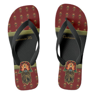 Hand of Hamsa feat: Tree of Life Red/Gold Flip Flops