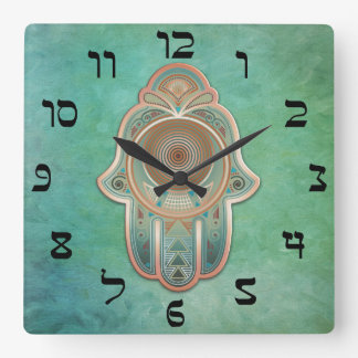 Hand of Miriam (Hamsa) in Copper and Green Wallclock