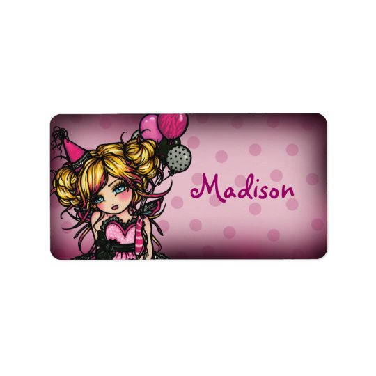 """""""Hand Out"""" Invite Birthday Girl Label Stickers Address Label"""