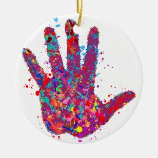 Hand, Outline, Drip Art Christmas Ornament