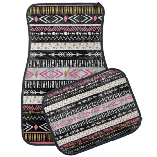 Hand paint tribal Aztec geometric design Car Mat