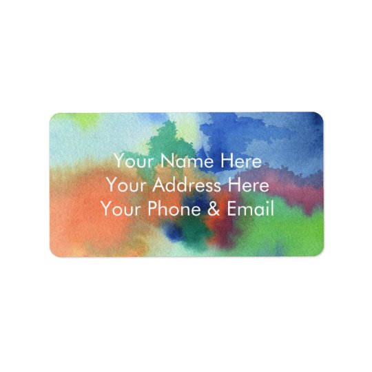 Hand-Painted Abstract Watercolor Blue Orange Green Address Label
