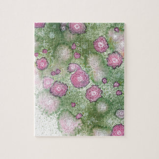 Hand-painted antique-rose hedge jigsaw puzzle