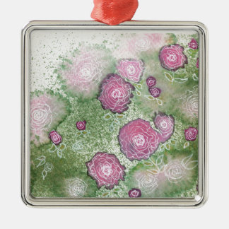 Hand-painted antique-rose hedge Silver-Colored square decoration