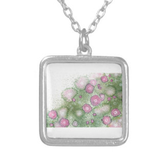 Hand-painted antique-rose hedge silver plated necklace