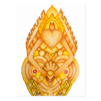 Hand painted art totem postcard
