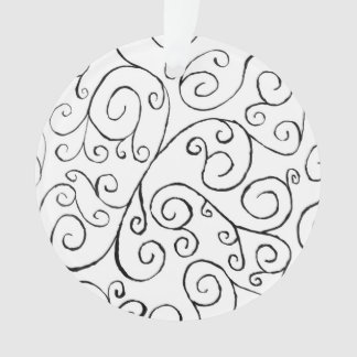 Hand-Painted Black Curvy Pattern on White Ornament