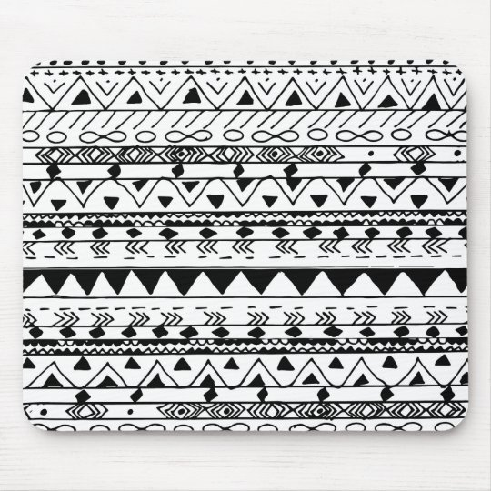 Hand painted black white watercolor aztec pattern mouse