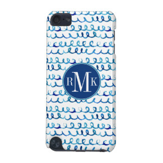 Hand Painted Blue Watercolor Wavy Pattern iPod Touch (5th Generation) Cases