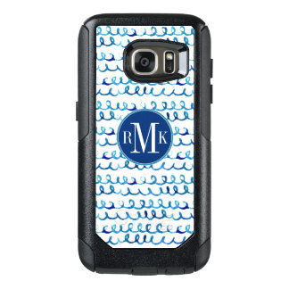 Hand Painted Blue Watercolor Wavy Pattern OtterBox Samsung Galaxy S7 Case