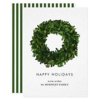Hand Painted Boxwood Wreath Holiday Flat Card
