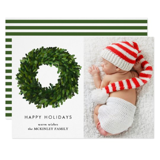 Hand Painted Boxwood Wreath Holiday Photo Card