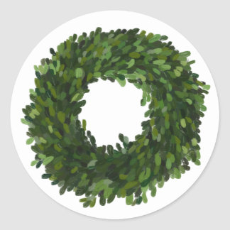 Hand Painted Boxwood Wreath Holiday Sticker